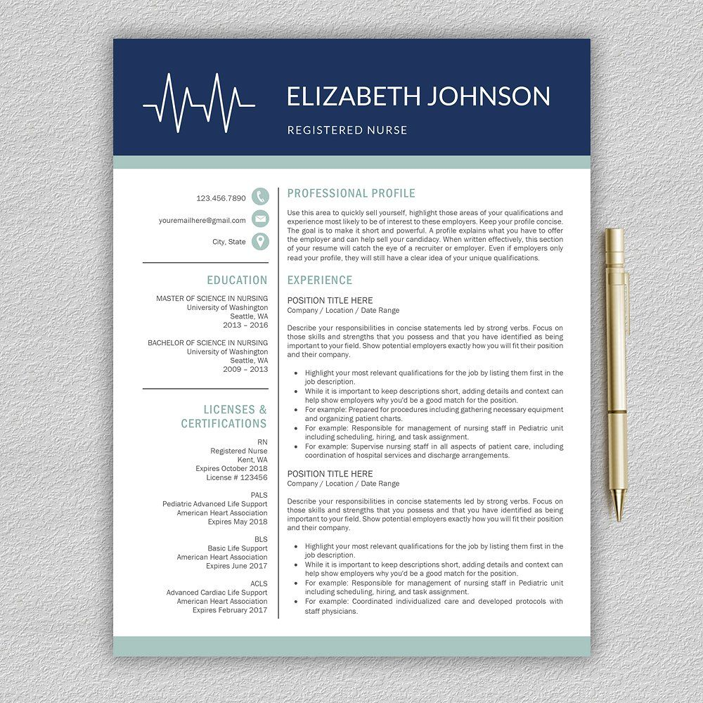 nurse resume medical cv template  icon number size color