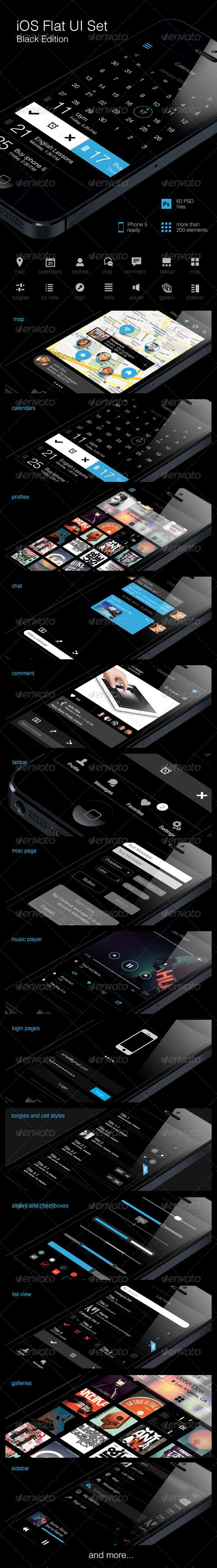 iOS Flat UI Set Black Edition - User Interfaces Web Elements
