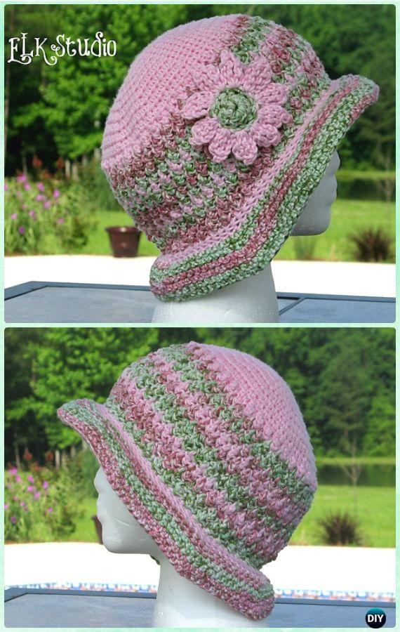 Ganchillo mujeres madreselva sombrero de verano patrón libre ...