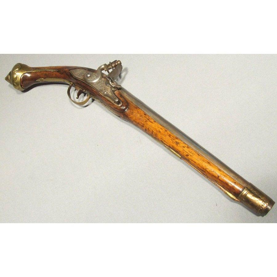 18th Century Eastern European Flintlock Holster Pistol With A Two Stage Steel Barrel Engraved In The French Taste And R Flintlock Pistol Guns Black Powder Guns