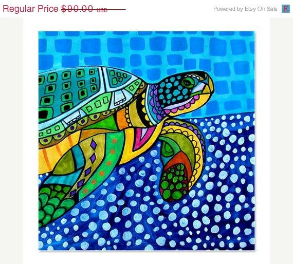 25% off - Artistic Sea Turtle Shower Curtains - Modern Abstract Art by HEather Galler Artsy Shower Curtain for Kids Bathroom or Adult Bathr