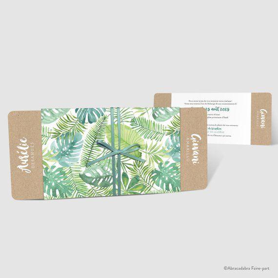 Faire-part de mariage – Pochette jungle tropicale avec feuillage tropical vert – ruban satin bleu vert – réf. AMANA