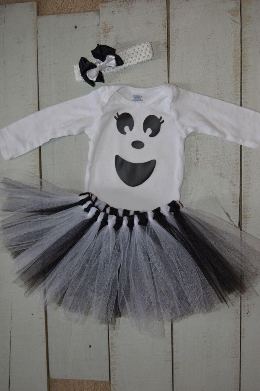 Girls Ghost Halloween Tutu Set/ Halloween Costume/Halloween outfit/ Ghost Tutu…