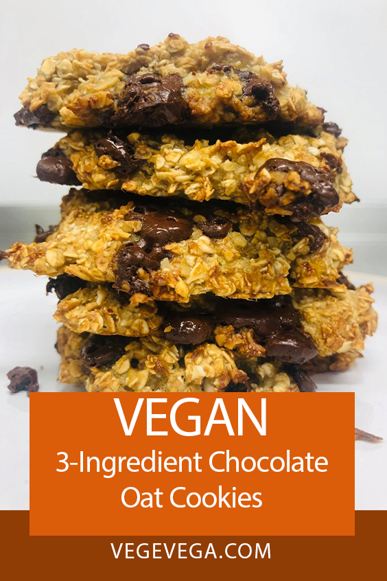 3-Ingredient Vegan Chocolate Oat Cookies