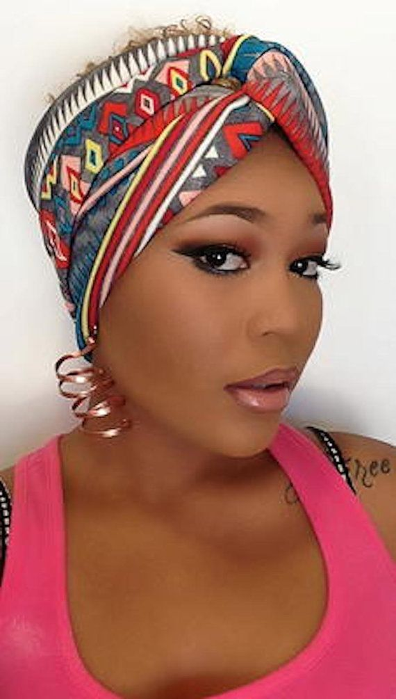 African Print Turban – Jersey Hair Band – Turban Headband – Hair Wrap with  Twisted Center on Etsy ~Latest African Fashion d20d62b954f