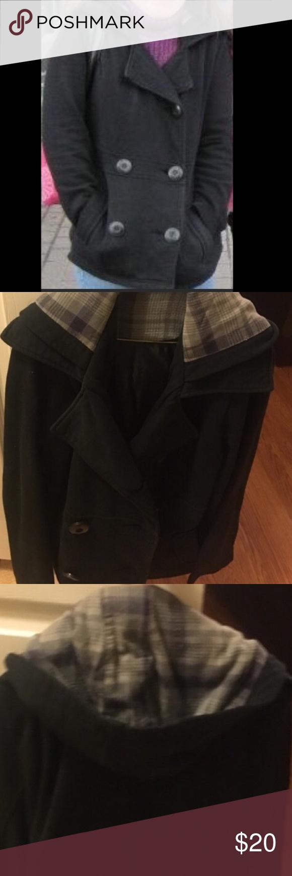 Black pea coat with hood Black pea coat with good Jackets & Coats Pea Coats