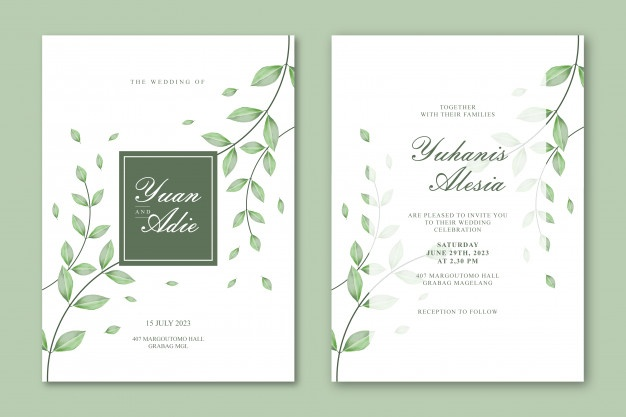 Wedding Card Template With Beautiful Leaves Di 2020