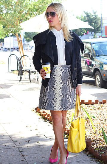 Snakeskin skirts are the best —Click to see more street style inspiration!
