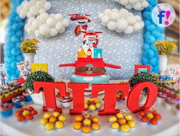 Super Wings Cumpleaños de Fiesta los Niños Avión Artículos Decoración