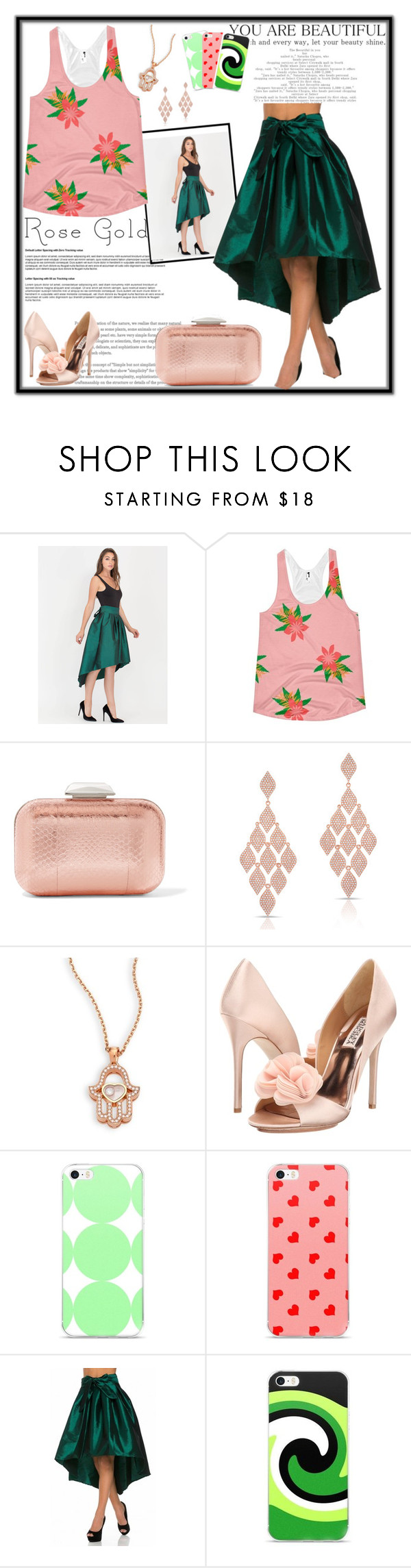 """Rose Gold Chic"" by atelier-briella ❤ liked on Polyvore featuring Jimmy Choo, Anne Sisteron, Chopard, Badgley Mischka, cute, chic and rosegold"