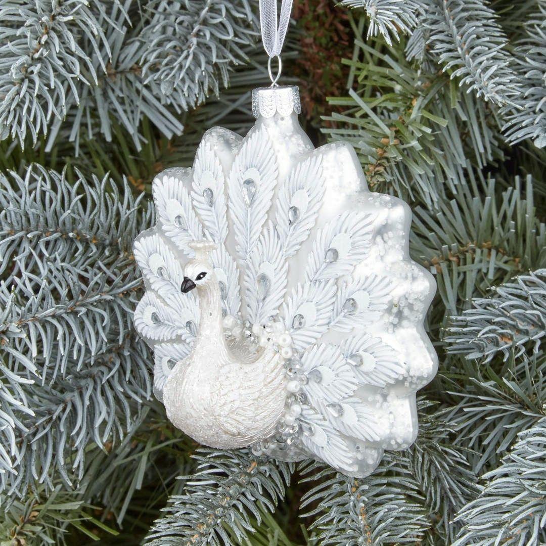 John Lewis Winter Palace White Peacock Ornament Winter Palace Peacock Ornaments Tree Decorations