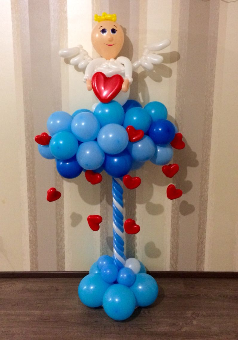 Pin by on my balloons pinterest angel for Balloon column decoration