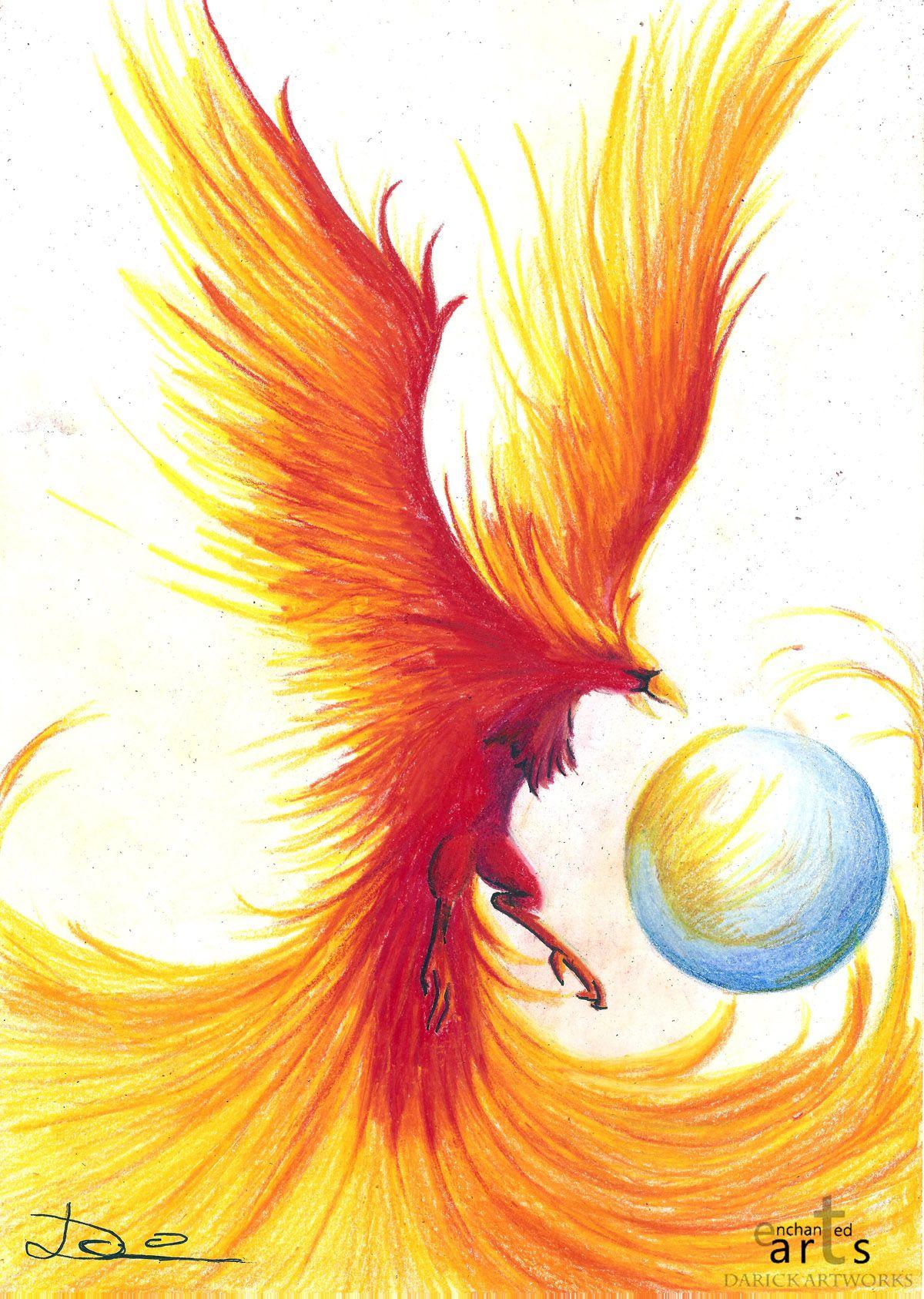 Птица феникс рисунок
