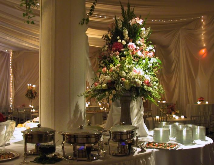 Wedding Buffet Table Flower Decorations Big Centerpiece
