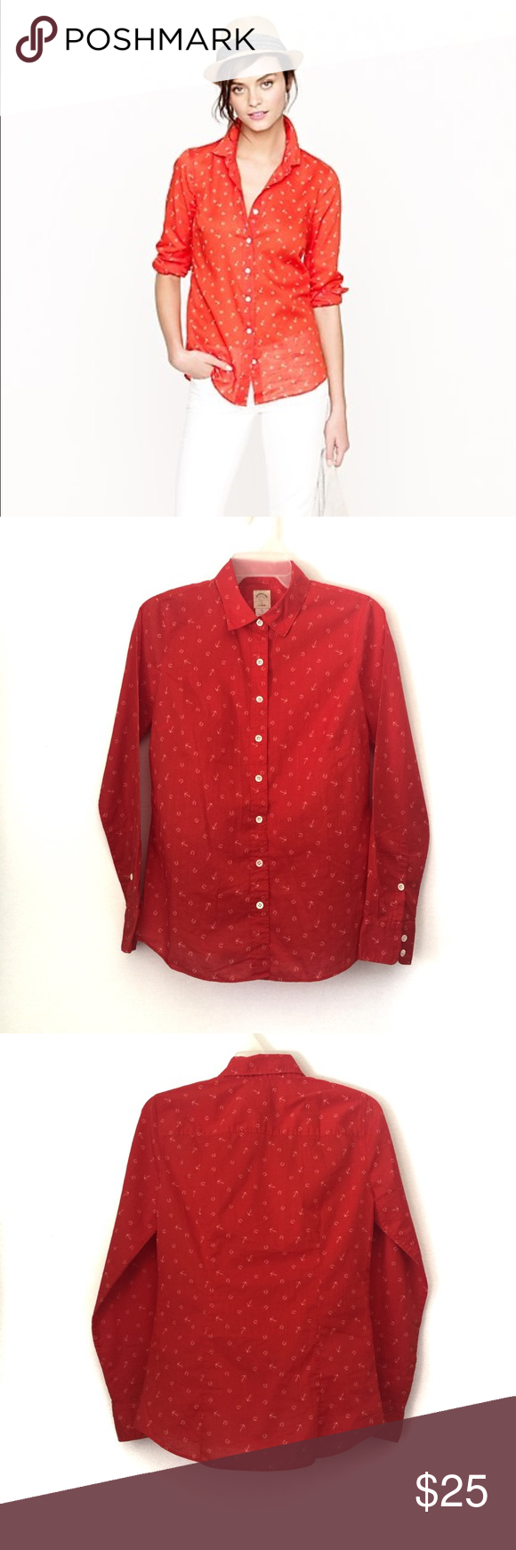 e007c36f Button Downs · J.CREW PERFECT SHIRT IN ANCHORS AND HORSESHOES With  precisely placed bust darts and back
