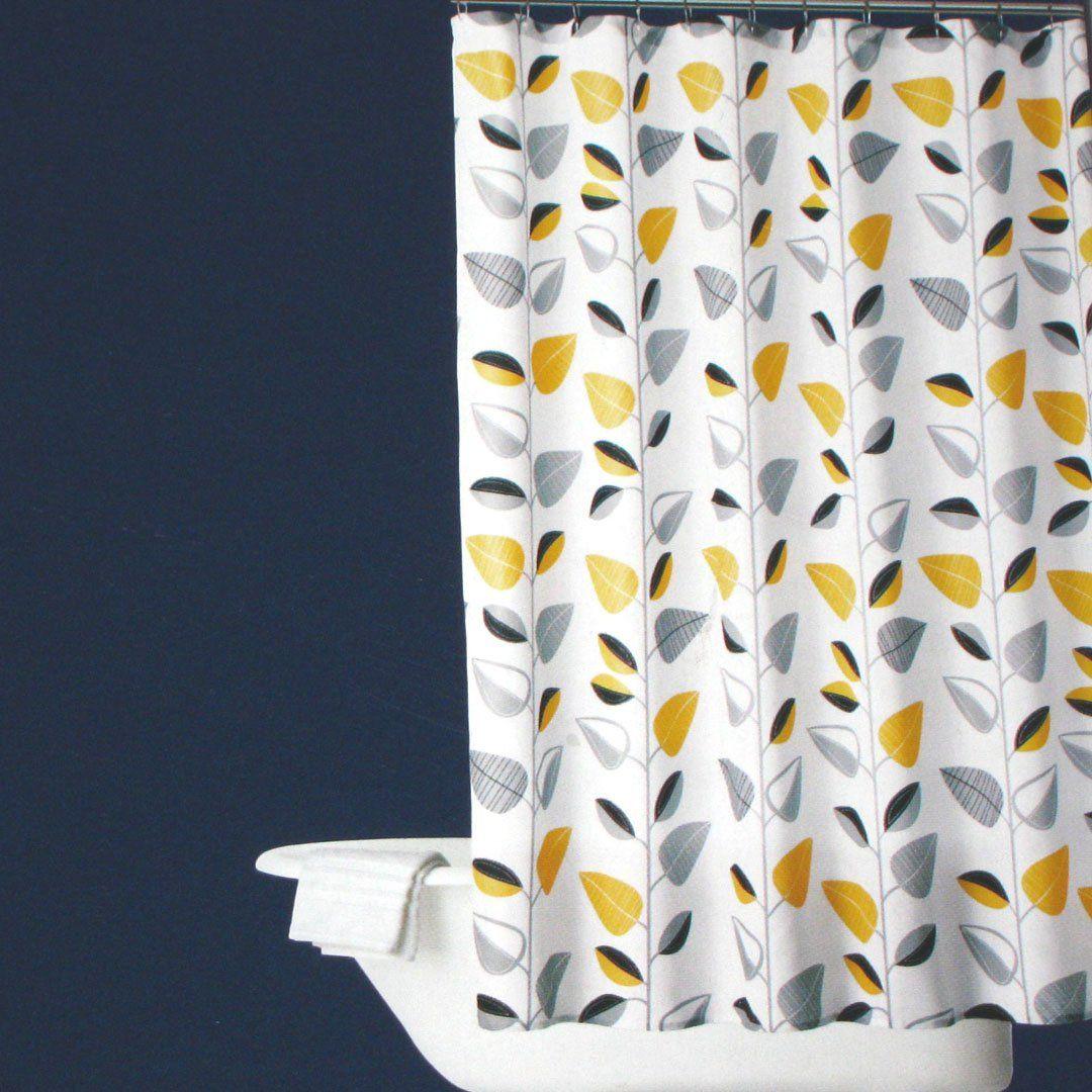 Room Essentials Yellow Vine Leaf Black Gray Shower Curtain