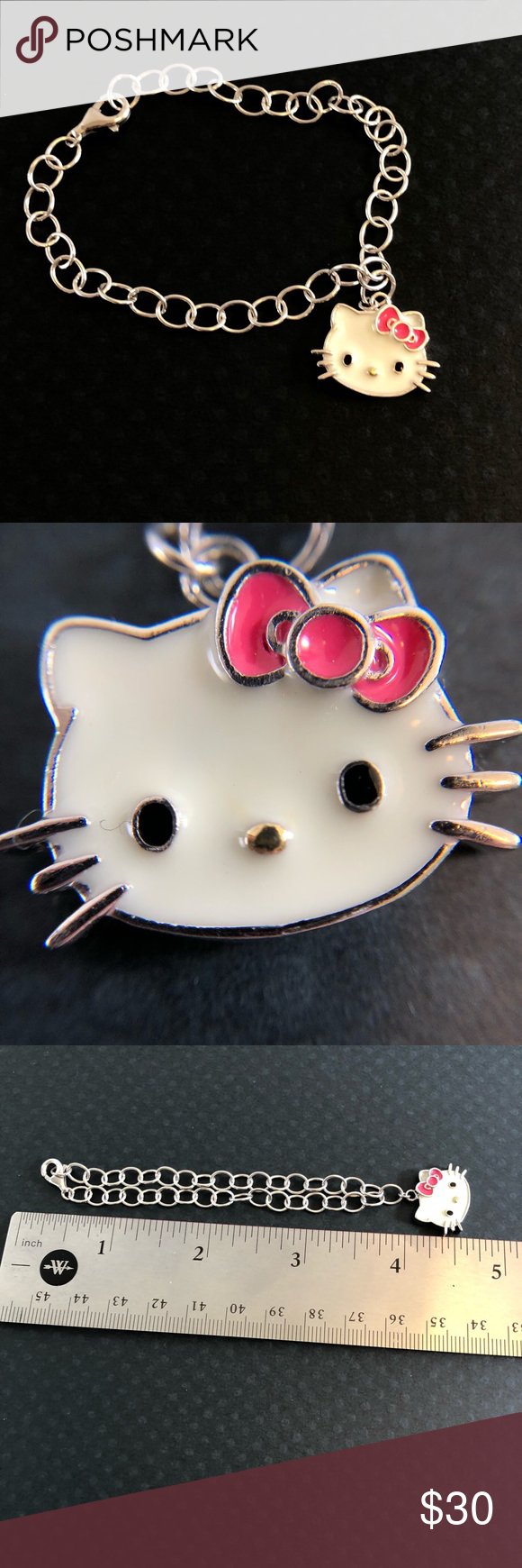 6139550ad Hello Kitty Fine Jewelry Pink Bow Bracelet Adorable .925 sterling silver  Sanrio Hello Kitty pink