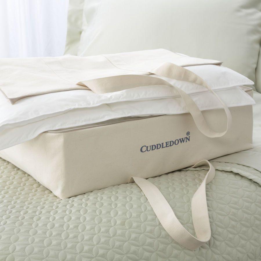 Cotton Canvas Zippered Storage Bag Grey Linen Bedding Bag Storage Blanket Storage