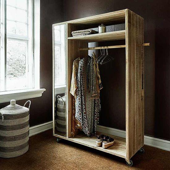 Garderobe Schrank NATURE mit Spiegel Kiefer von Nordal - badezimmerschrank mit spiegel
