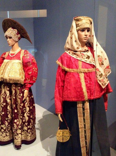 Exhibition of extant Russian folk costumes from various regions.