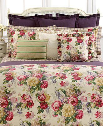 Lauren Ralph Lauren Comforter King Surrey Garden Collection Floral Pink  Burgandy Purple Green Gold On Tan X