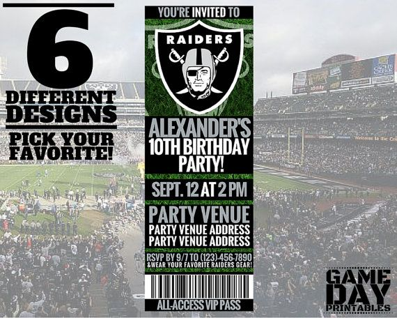 Oakland Raiders Invitation Printable By Gamedayprintable On Etsy