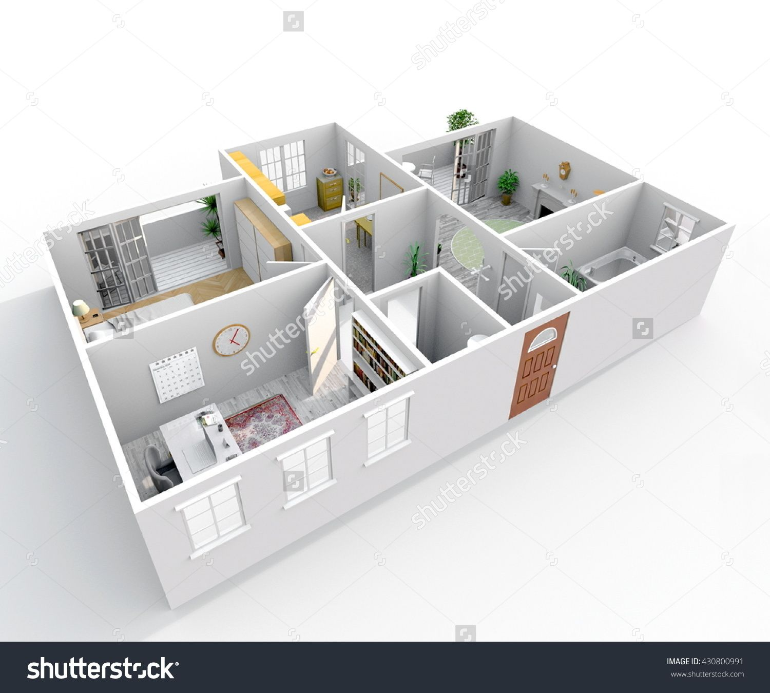3d Interior Rendering Perspective View Of Furnished Home Apartment Room Bathroom Bedroom