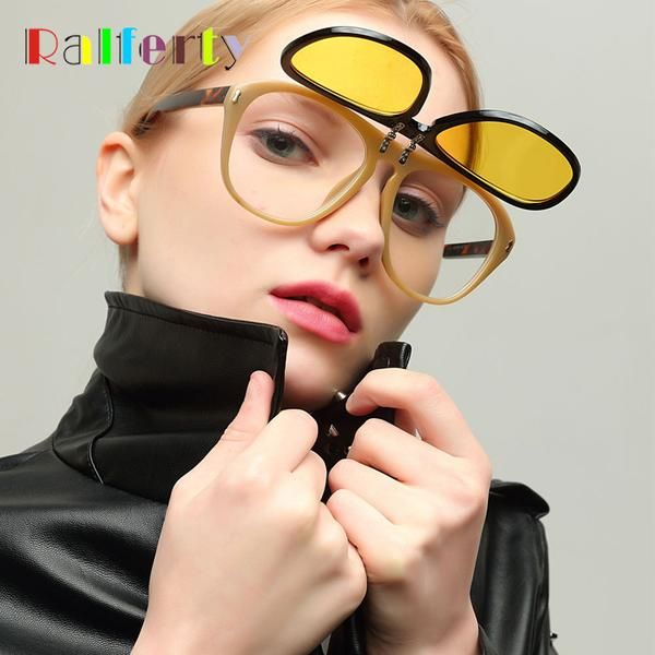b61de632f752  FASHION  NEW Ralferty Trendy Flip Up Sunglasses Women Oversized Yellow  Sunglass Men Big Frame Sun Glasses 2018 Eyewear Accessories W1341