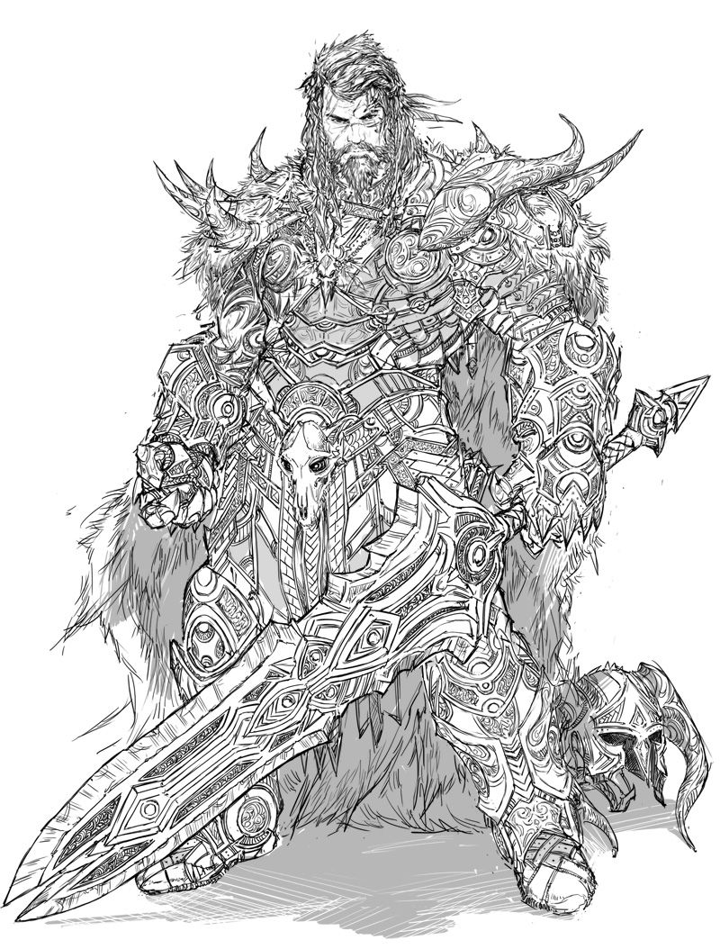 Barbarian Design comm by YamaOrce armor clothes clothing fashion player character npc   Create your own roleplaying game material w/ RPG Bard: www.rpgbard.com   Writing inspiration for Dungeons and Dragons DND D&D Pathfinder PFRPG Warhammer 40k Star Wars Shadowrun Call of Cthulhu Lord of the Rings LoTR + d20 fantasy science fiction scifi horror design   Not Trusty Sword art: click artwork for source