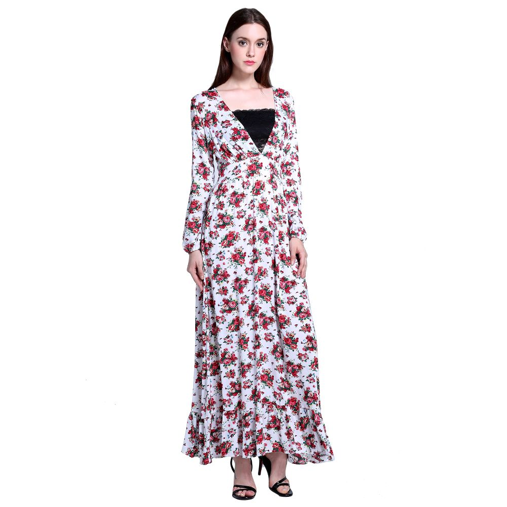 Floral print long sundress women sexy deep v neck maxi dresses