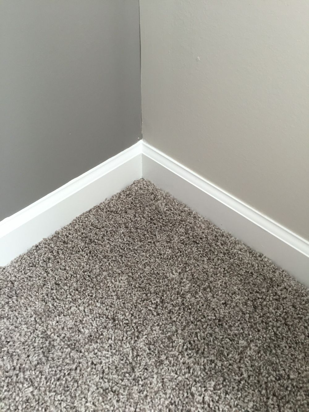 Our gray carpet and the dark gray sw dovetail accent for Paint colors for brown carpet