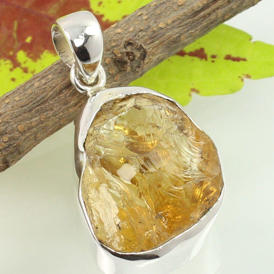 925 Solid Sterling Silver Lovely Pendant Real CITRINE Gemstone ! Christmas Gift #SunriseJewellers #Pendant