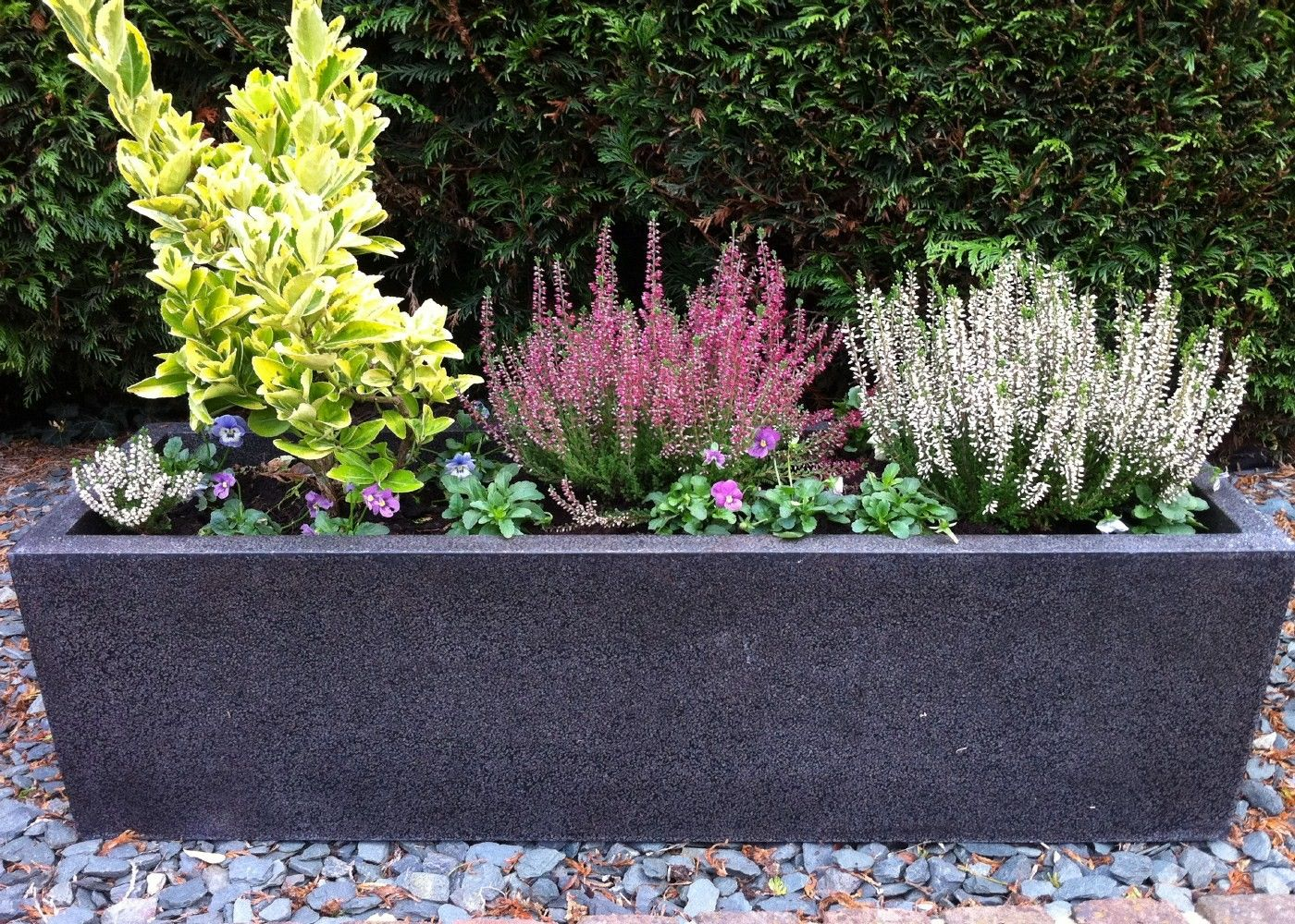 Planters fibreglass planters modern trough large for Large garden planter ideas