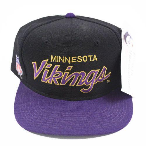 Vintage Minnesota Vikings script snapback hat NWT  8521bd392