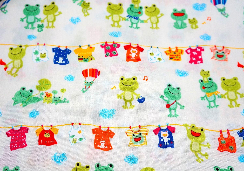 Japanese fabric Frog family.