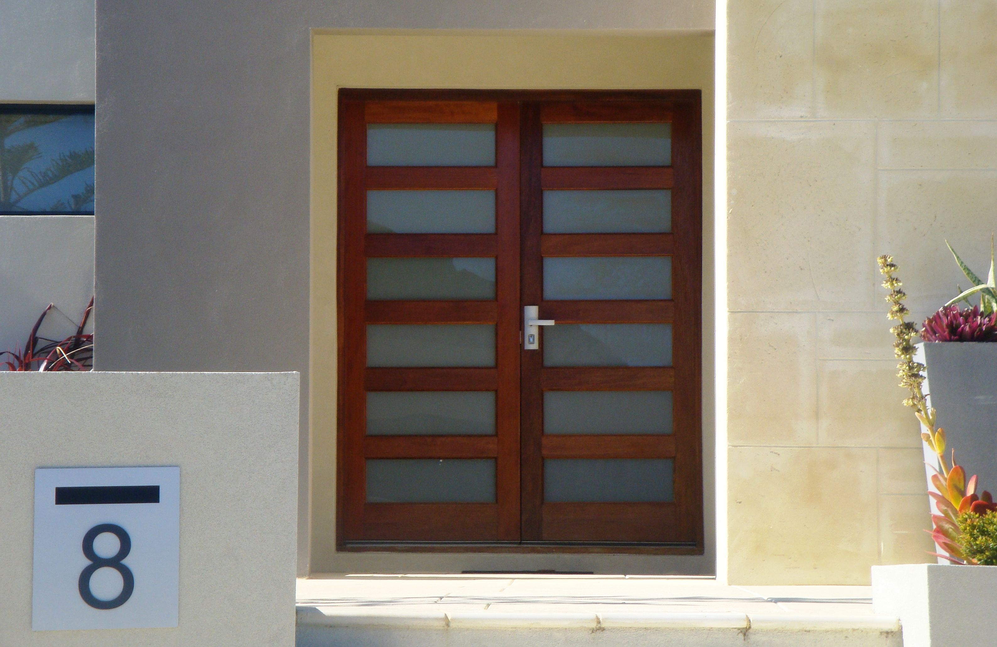 Pair of solid engineered timber Sydney entrance doors with white ...