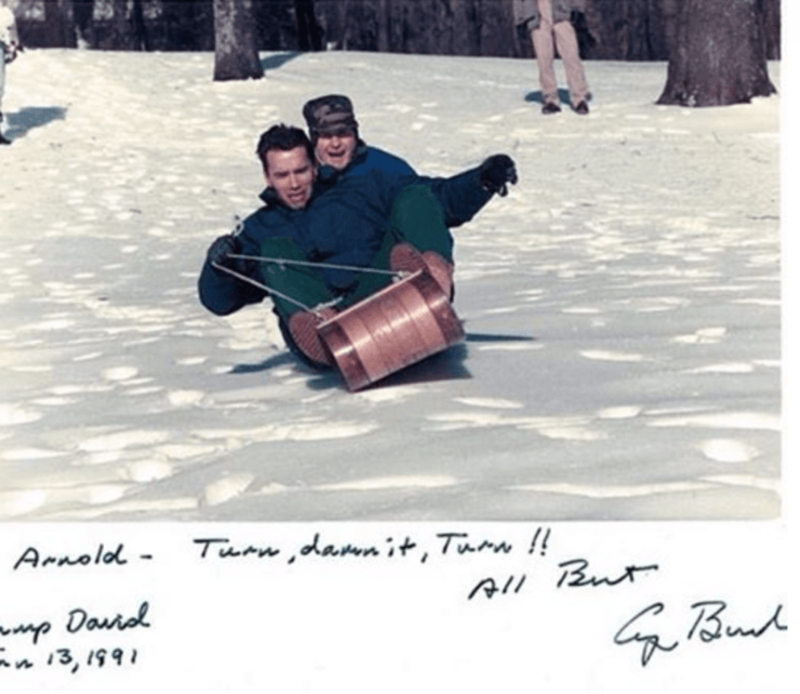 Then Sitting President George Hw Bush Goes For A Sleigh Ride With