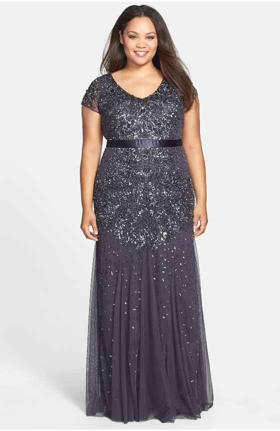 Free shipping and returns on Adrianna Papell Beaded Illusion Gown ...