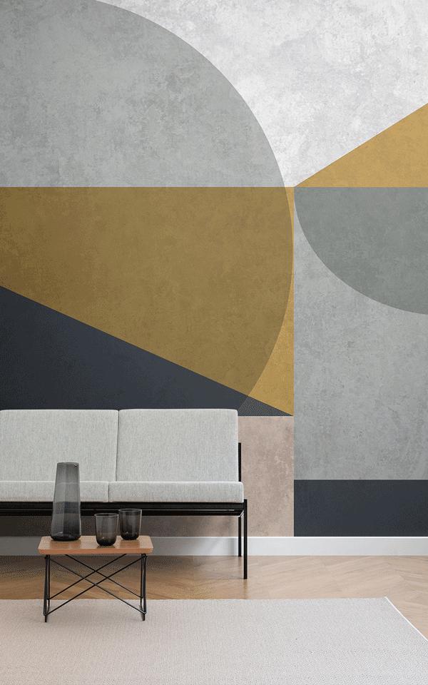 Mustard Geometric Wallpaper MuralsWallpaper in 2020