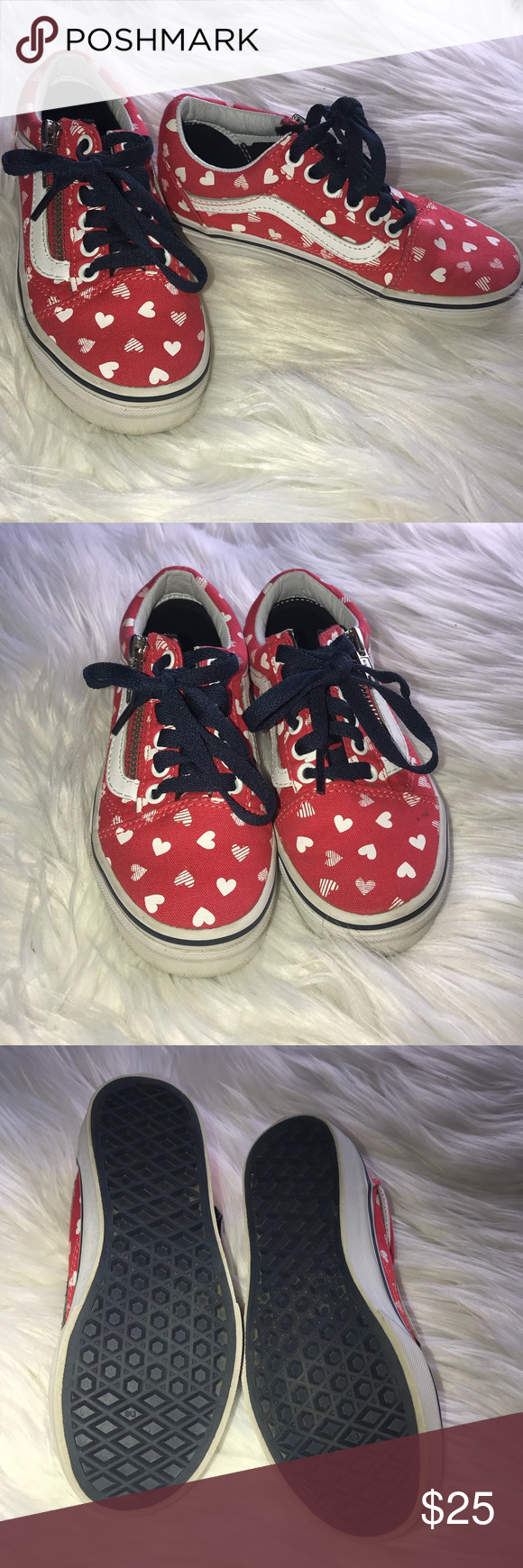 0a7cceacab3407 Girls Old Skool Vans Side Zip Heart Vans Size 12.5 Girls Old Skool Vans  Side Zip