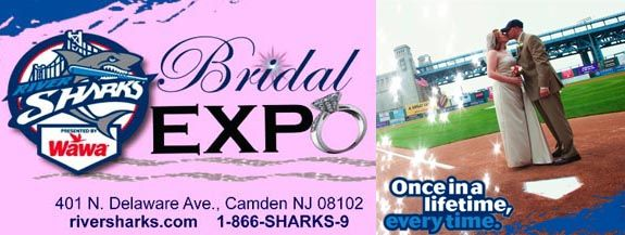 Fan of the #Riversharks? The Camden Riversharks are hosting a Couple's Bridal Expo on Saturday, 7/27 beginning at 3:45pm at Campbell's Field in #Camden, NJ! Meet with local wedding professionals before the game, and then enjoy some baseball action with the Camden Riversharks vs. the Somerset Patriots at 5:35pm! Click the image above for details and to register, and enter to win a pair of tickets at www.njwedding.com/monthlycontest
