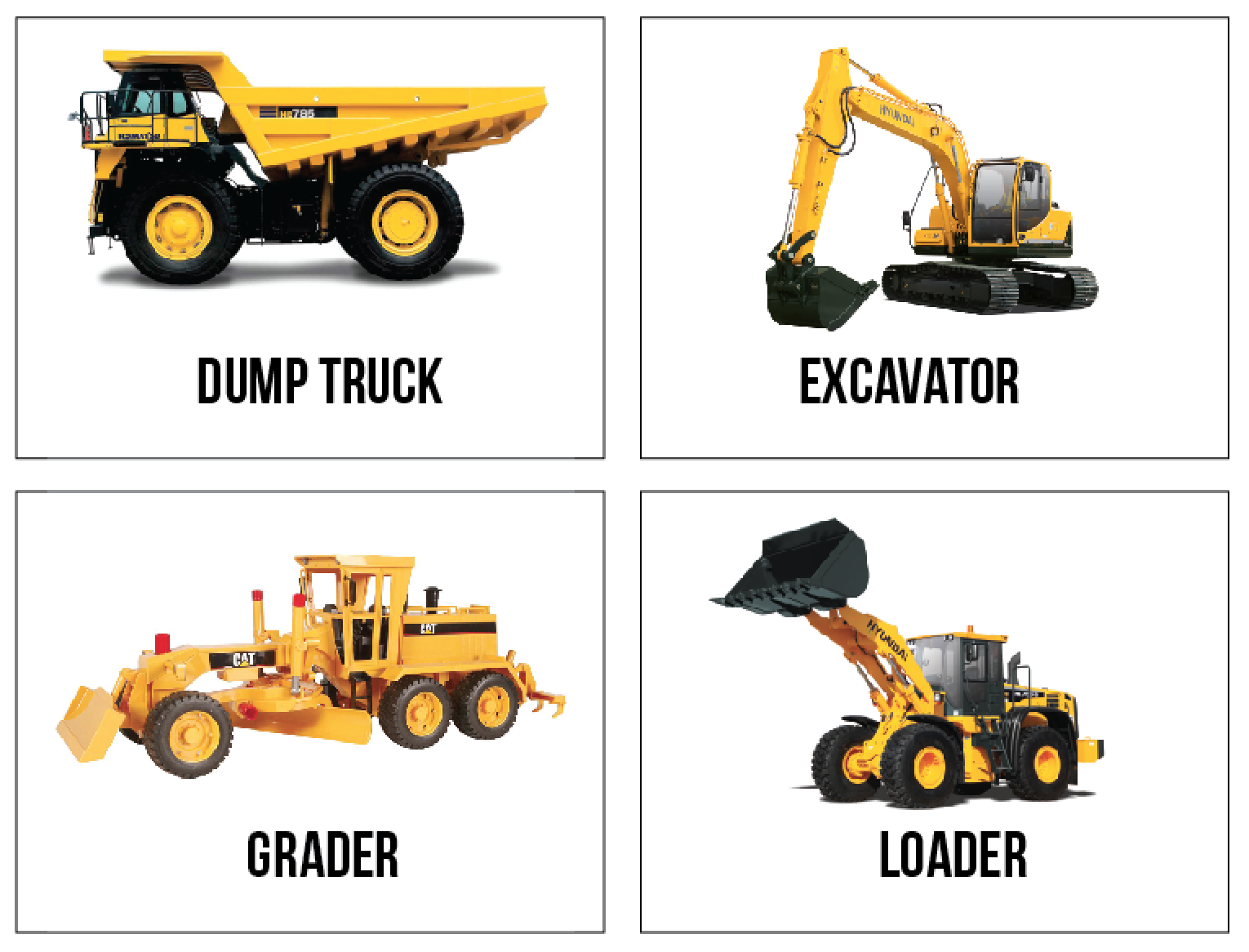 Free Printable Construction Truck Flashcards Because I
