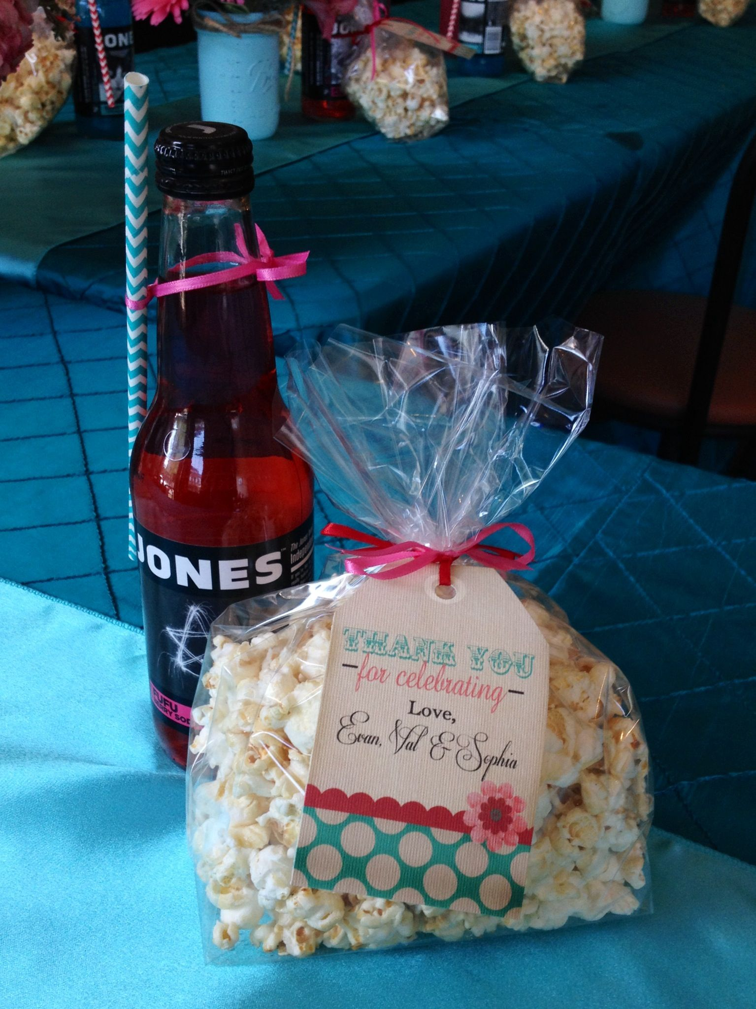 "Guest favors of Jones soda & popcorn ""she s gonna pop"""