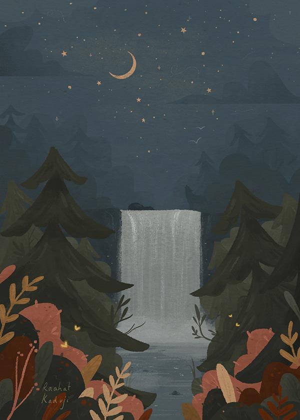 Raahat Kaduji Illustration - Moon, Sun and Stars