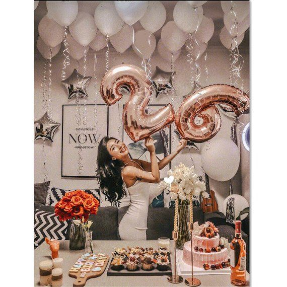 Rose Gold Birthday Number Balloon With White Balloons Birthday Decor 16th 18th 21st 30th