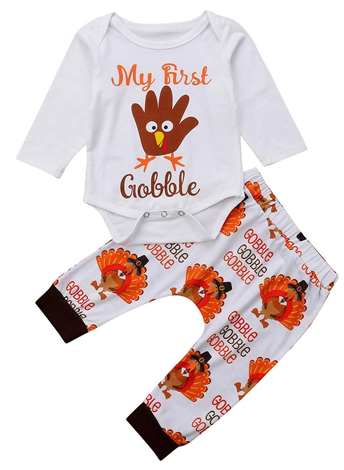 Infant Baby Boys Girls Clothes Set Turkey Thanksgiving Outfit My First Gobble Letter Print Long Boys And Girls Clothes Baby Kids Clothes Cute Baby Girl Outfits