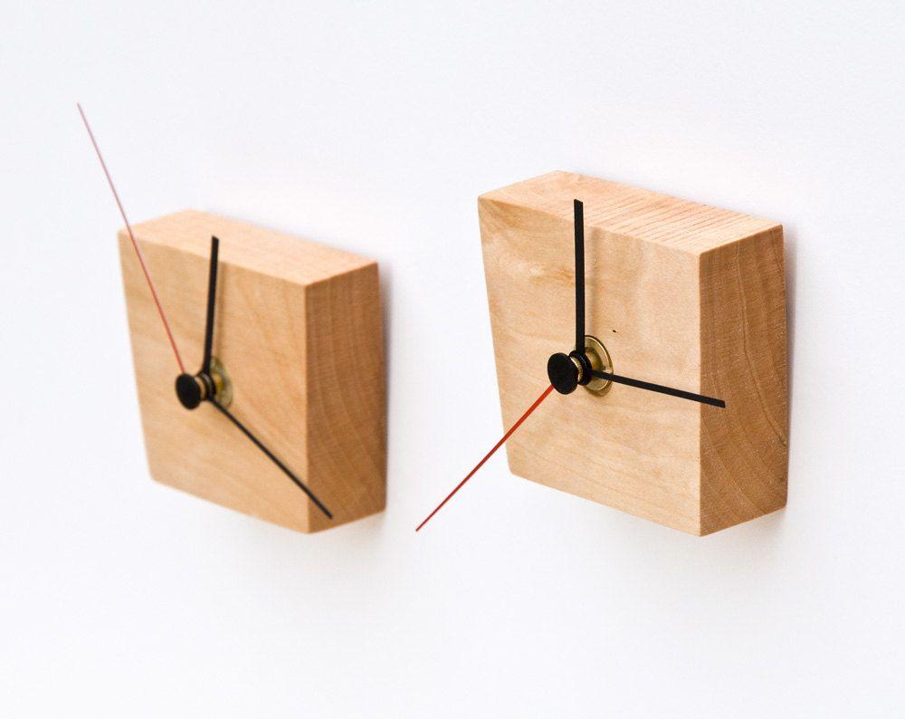 Small Modern Wall Clock, Unique Wood Wall Clock EIKO