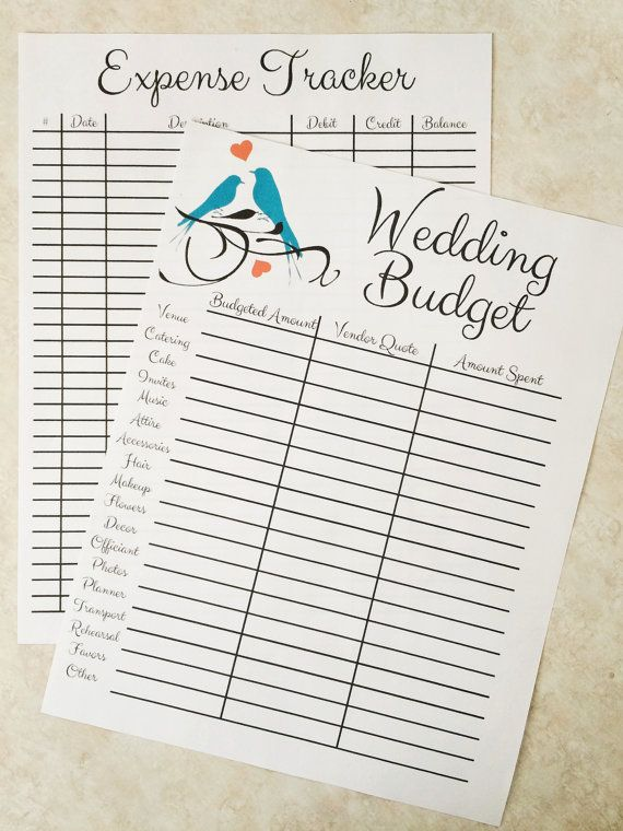 Wedding Budget Printable Instant Download PDF by TheStudySesh