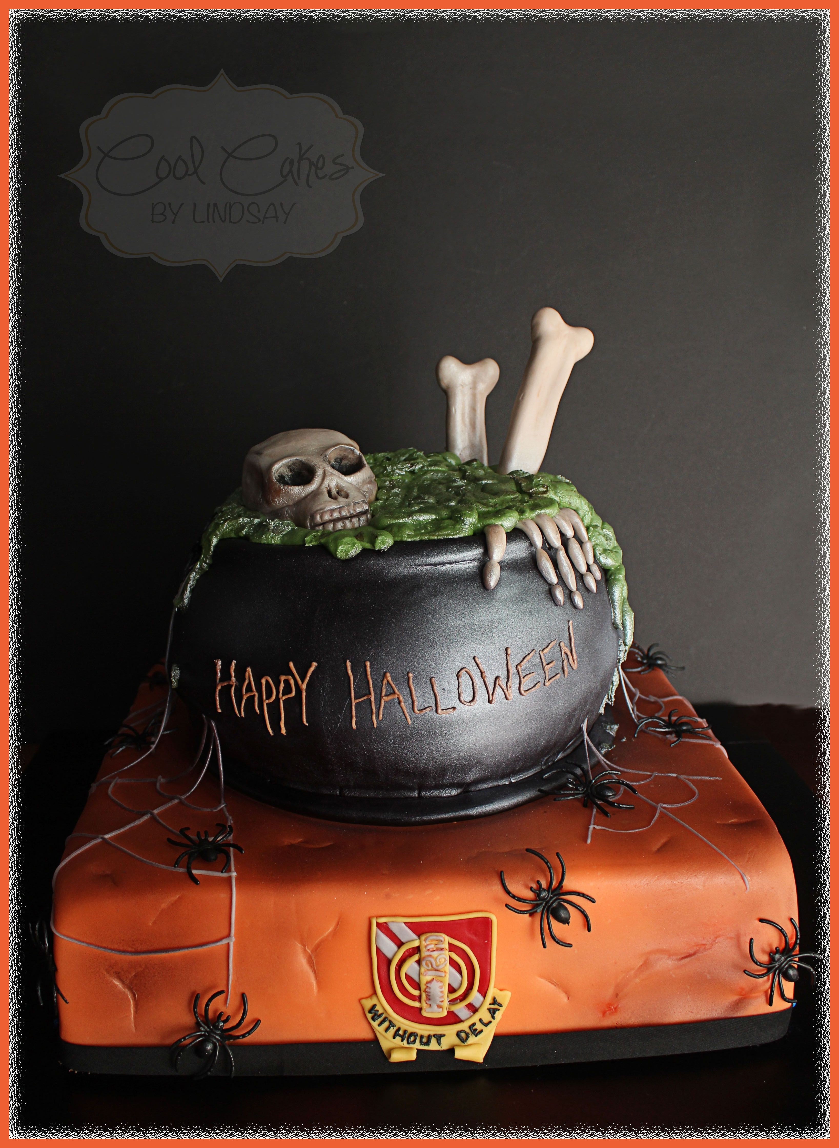 Halloween Cake Skull And Bones In A Cauldron Scary
