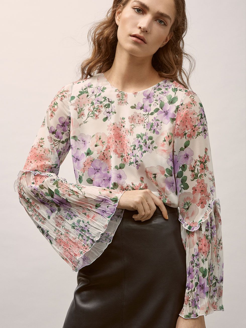 Floral Print Shirt With Ruffle Trims And Pleats Women Massimo Dutti Floral Print Shirt Women Floral Prints